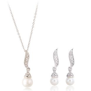 Korean Fashion Leaf Shape Pearl Earings + Necklace Set