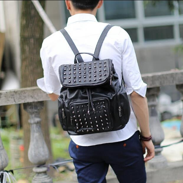 Korean fashion PU leather British couple rivets backpack