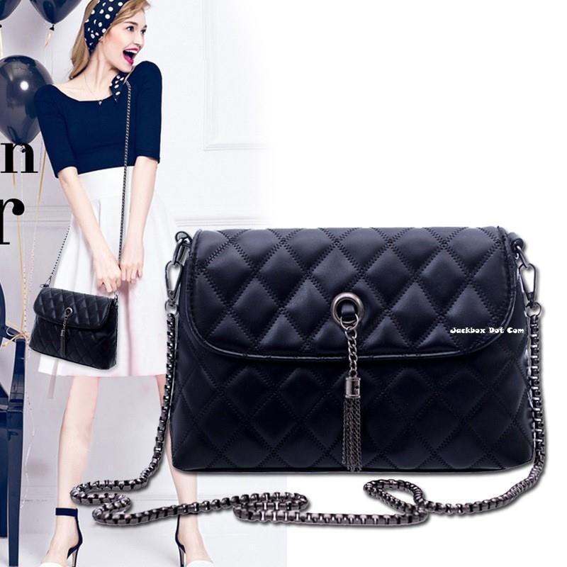 Korean Fashion Soft PU Leather Metal Strap Quilted Sling Bag 333