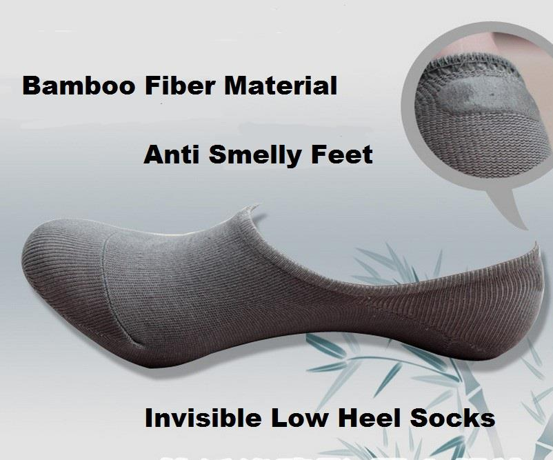 Korean Invisible Socks Anti Slip Bamboo Fiber Non-skid Unisex Low Heel