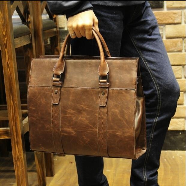 Korean leisure messenger crazy horse leather business briefcase