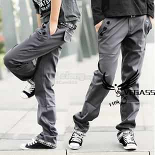 Korean Men's Casual Plaid Trousers Pants with Belt