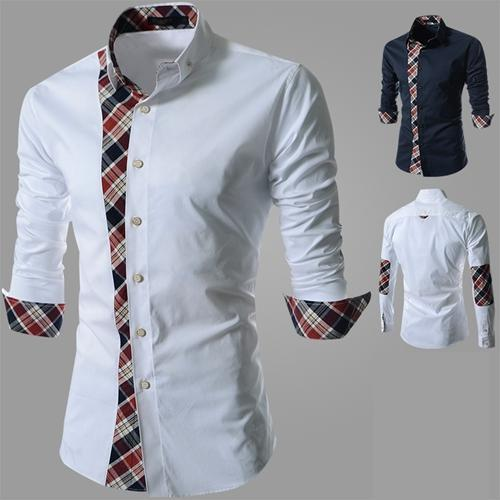 Korean Men's Fashion Plaid Long-Sleeved Shirt