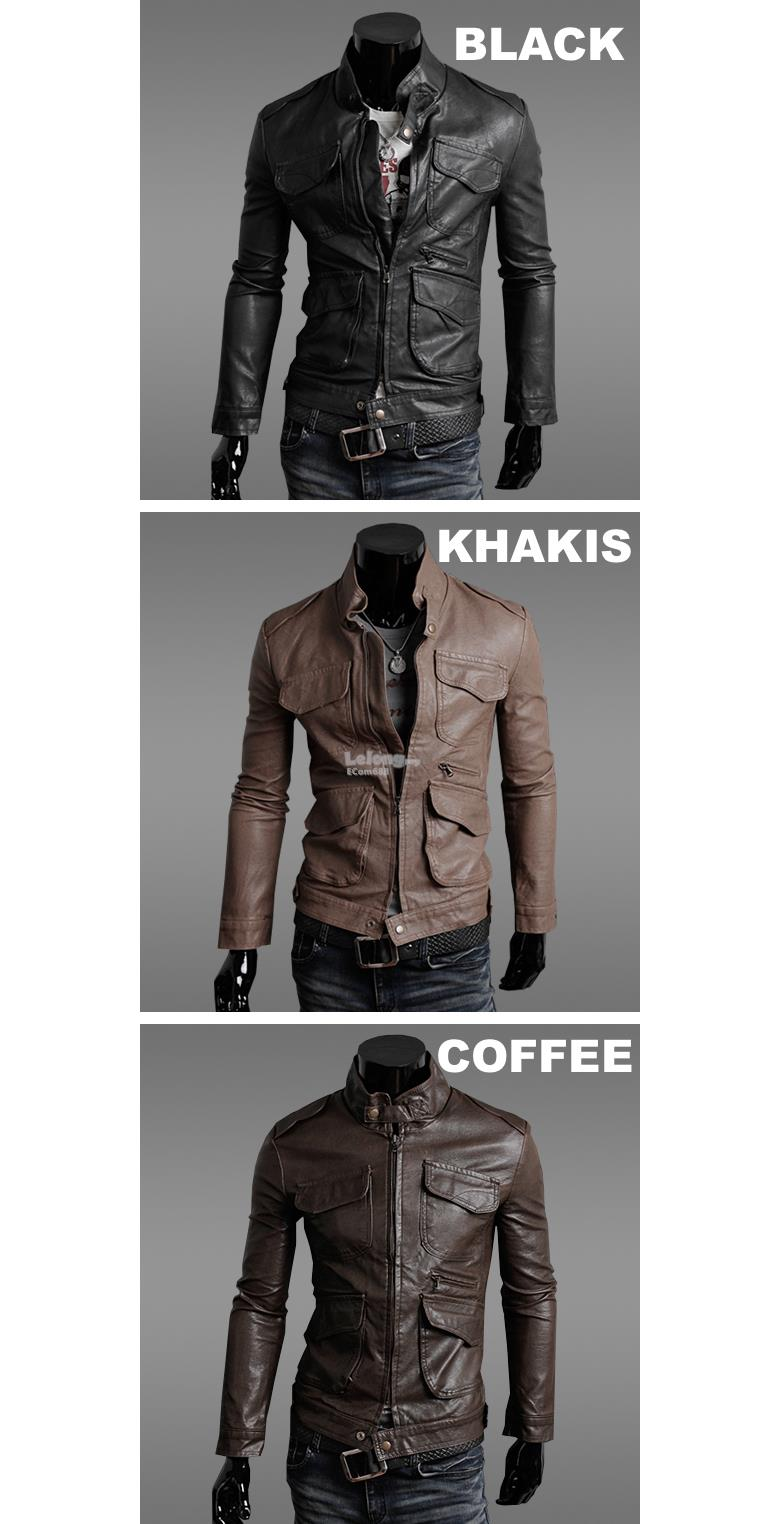 Korean Men's Slim Fit Motorcycle Leather Coat Jacket