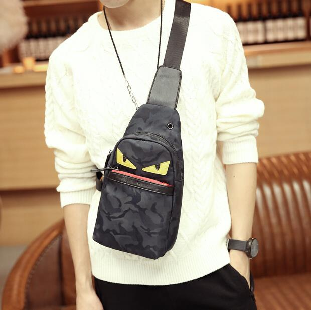 Korean men and women camouflage waterproof small monster chest bag