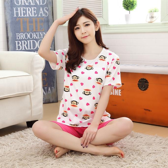 Korean Milk Silk Short Sleeve Sleepwear Set (Rose Red)