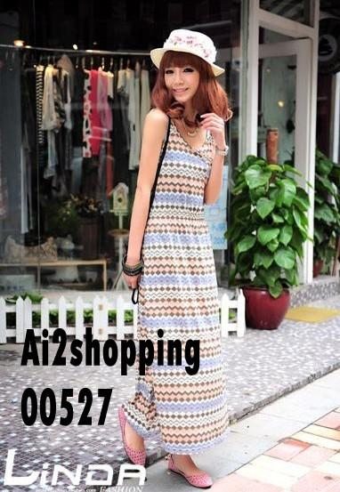 Korean mixing pattern Slim dress cool dress00527