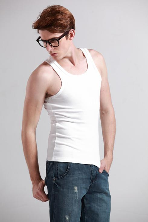 Korean Relax Slim Tight Cotton Singlet~Flexible (White)