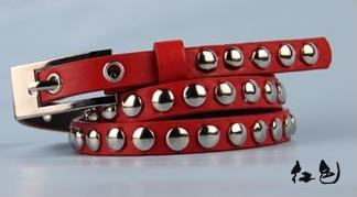 Korean Rivets Red Fine Fashion Belt