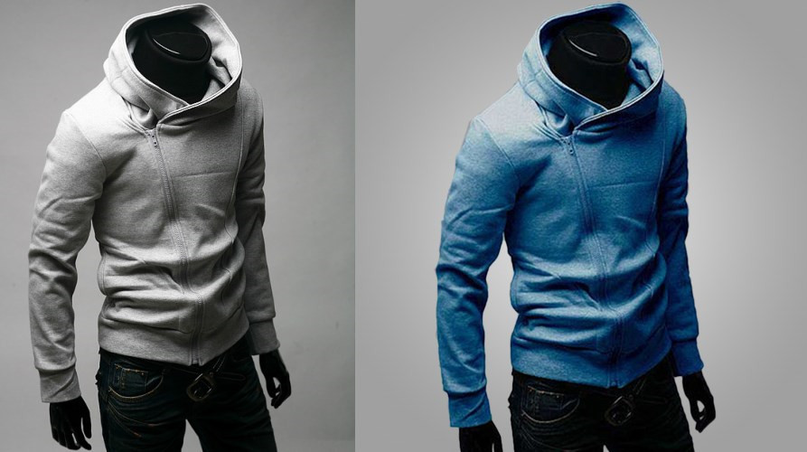 Korean Side Zipper Men's Hooded Sweater Jacket - Standar Cutting