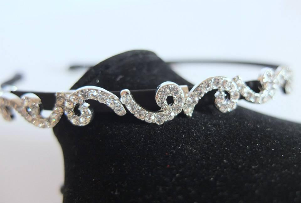 Korean Silver Post Cubic Zircon Wave luxury hairband (HBL390-002)