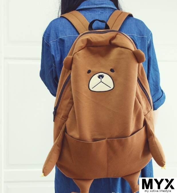 Korean soft 3D Cartoon Brown Bear Shoulder Bag Backpack
