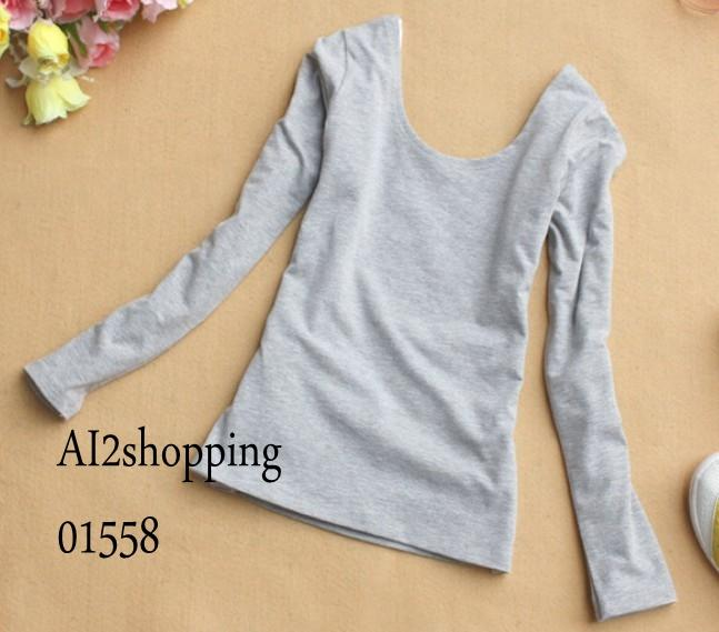 Korean soft cool super wild U-Neck Top Clothes0155