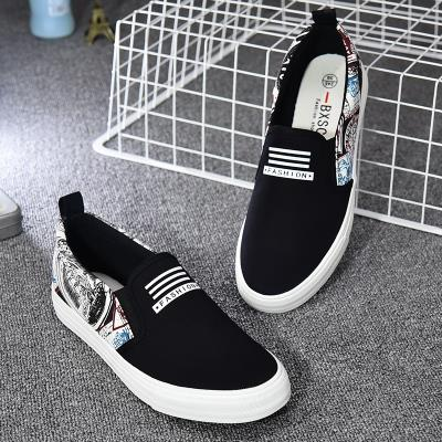 Korean Style Breathable Black Graffiti Loafer Sneakers