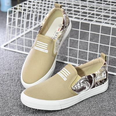 Korean Style Breathable Khakis Graffiti Loafer Sneakers