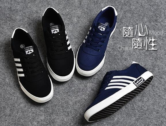 Korean Style Canvas Couple Stripe Slipon Sneakers