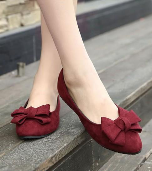 Korean Style Ribbon Pump Shoes (Wine Red)