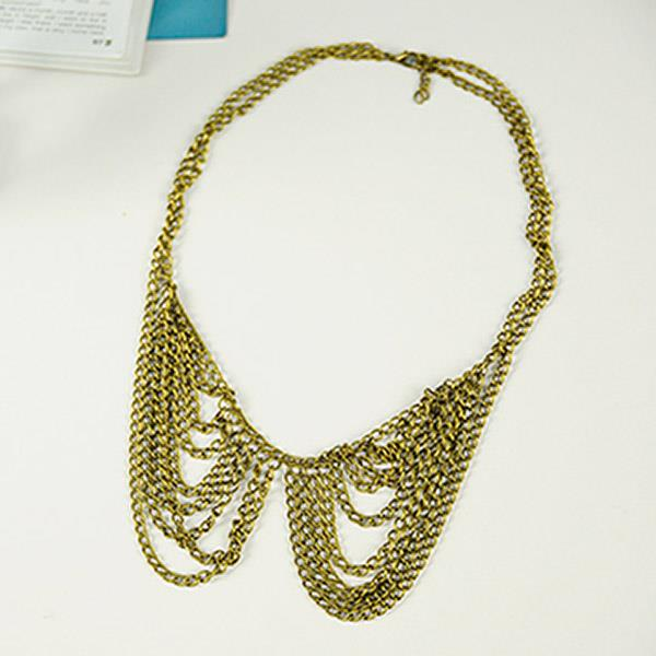 Korean Style Tassel Intertwined Chains Collar Necklace