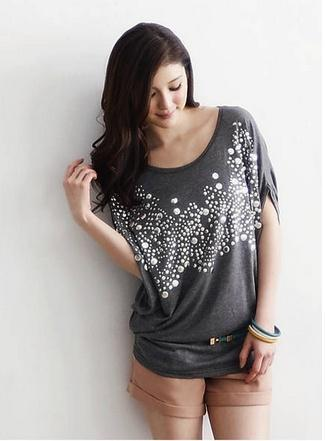Korean Type Silver Sequins Loose Blouse