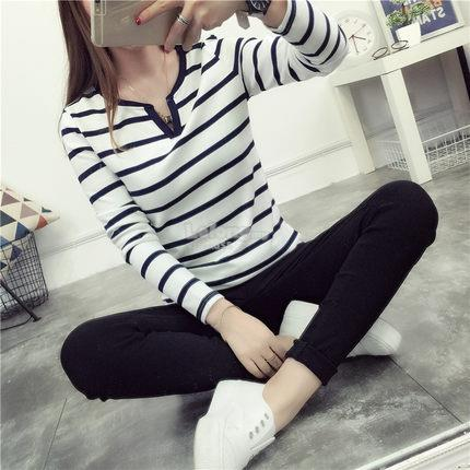 Korean V-neck Long Sleeves Stripe T-shirt