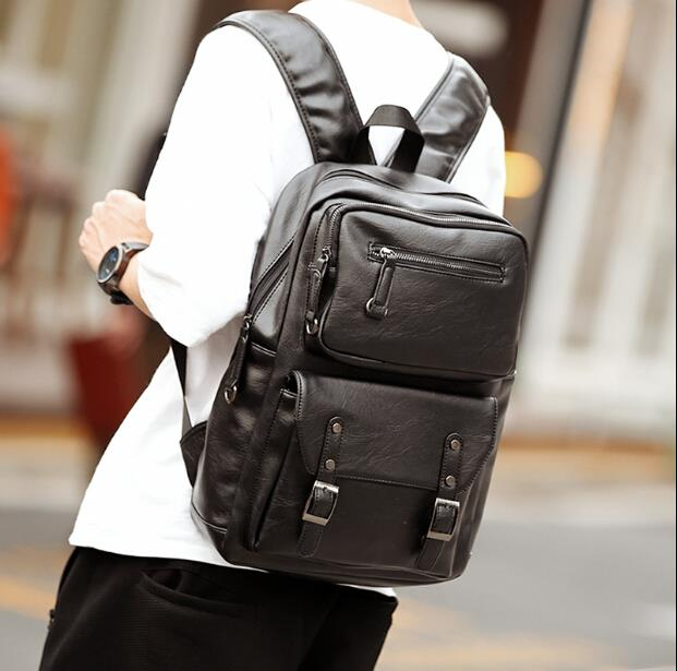 Korean version genuine male business leisure multiple zipper backpack