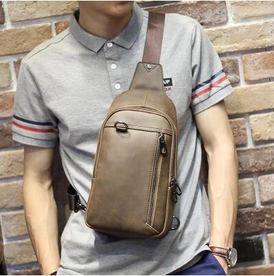 Korean version leisure crossbody crazy horse leather male chest bag