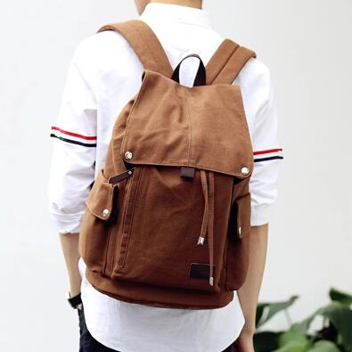 Korean version male fashion canvas casual backpack