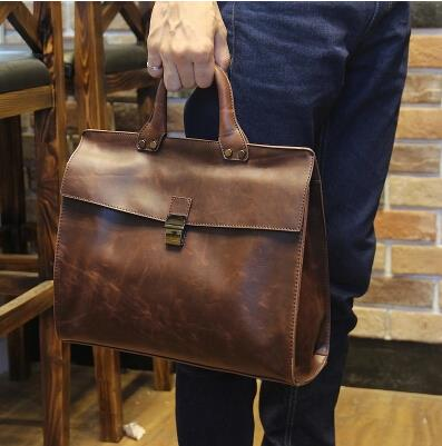 Korean version of the male fashion crazy horse leather briefcase
