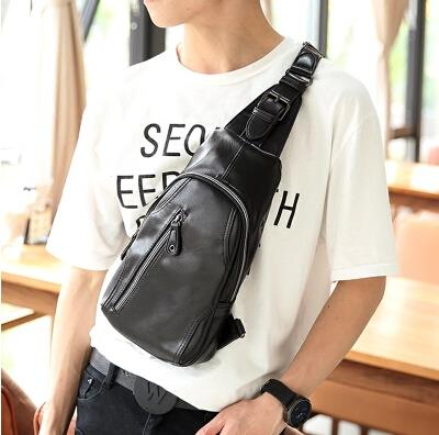 Korean version of male PU zipper leisure messenger chest bag