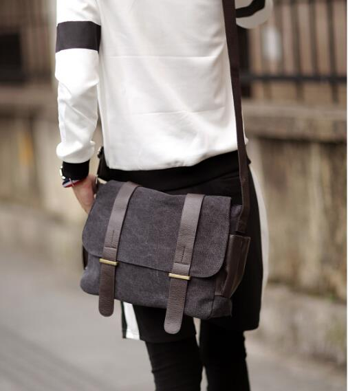 Korean version of the men leisure canvas messenger bag