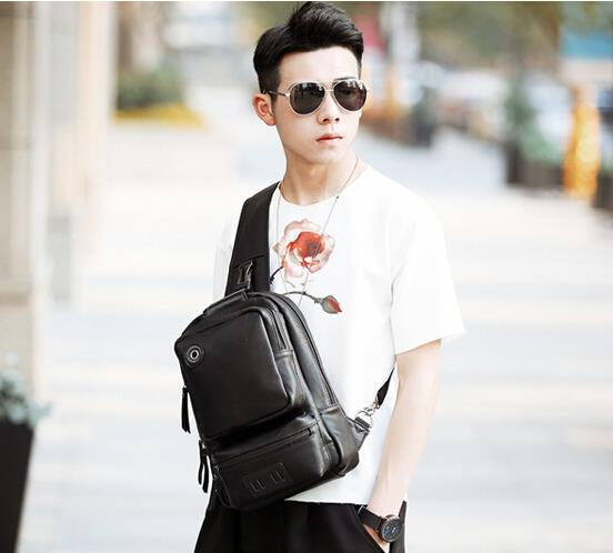Korean version of the new men retro large chest bag