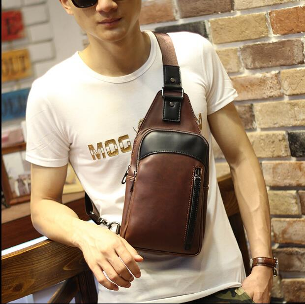Korean version of men's business single shoulder chest bag