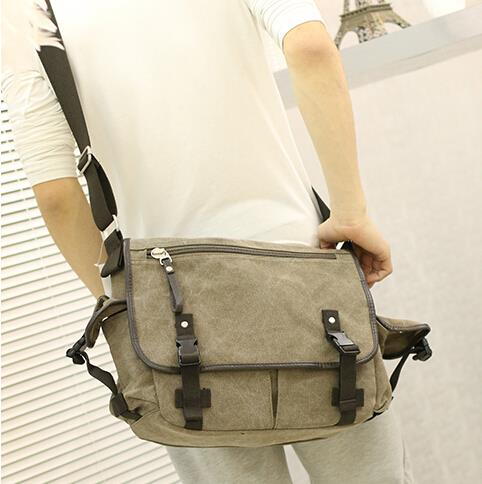 Korean version of the men's leisure college style canvas messenger bag