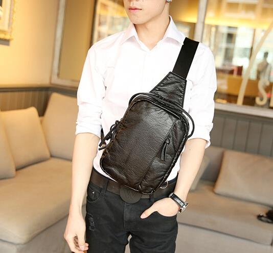 Korean version of the new men trend soft leather chest bag