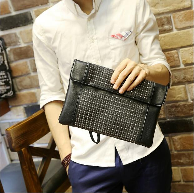 Korean version men and women tide rivet clutch bag