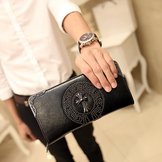 Korean version retro trend cross rivet long wallet
