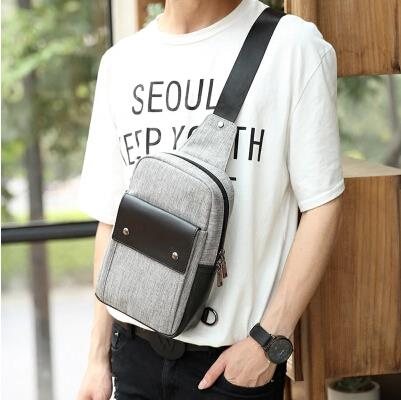 Korean version of the new summer men trend canvas small chest bag