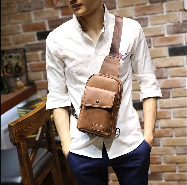 Korean version of tide crazy horse leather men sports chest bag