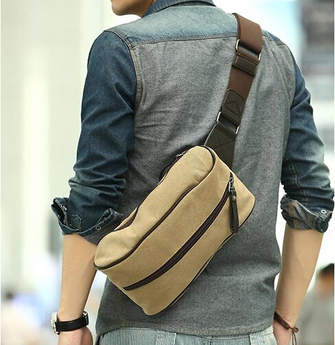 Korean version of the tide men outdoor leisure canvas chest bag
