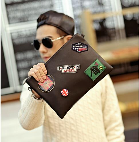 Korean version tide men and women medal clutch bag