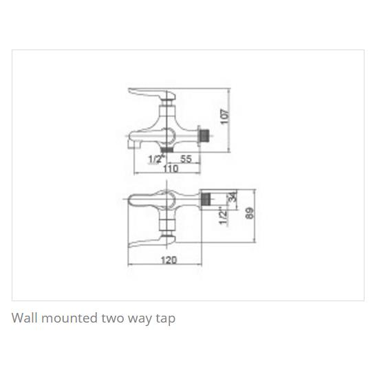 KOSA CT010TWT Clove Series Wall Mounted Two Way Tap