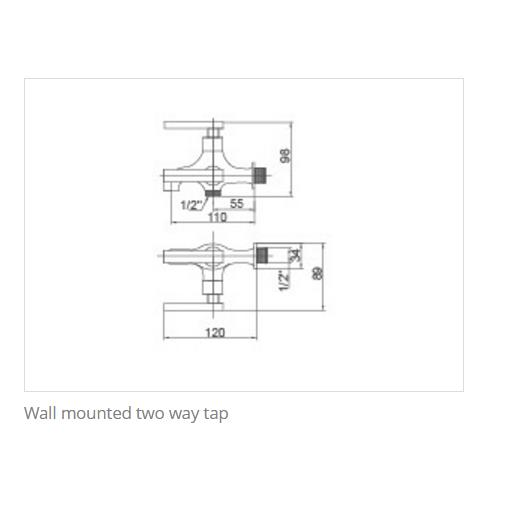 KOSA KT010TWT Kapok Series Wall Mounted Two Way Tap