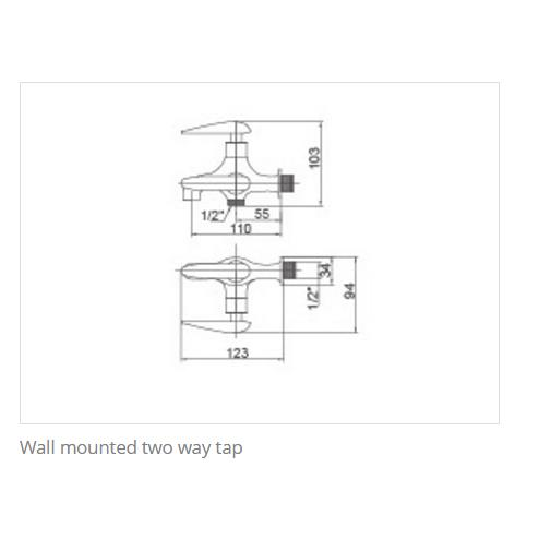 KOSA OT010TWT Olive Series Wall Mounted Two Way Tap