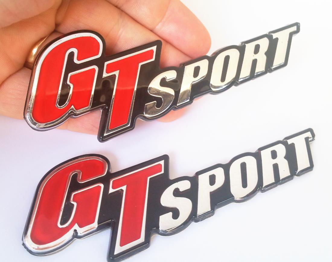 :  [KWT-BNX] 2 Piece Gt Sport Chrome Acrylic Top Badge Emblem Logo Fen