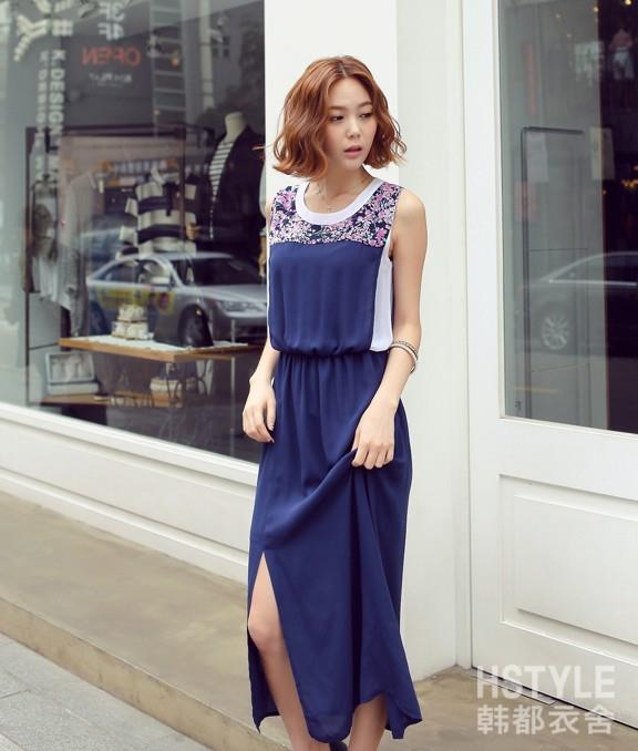 La Diva Festiva Korean Style Round Neck Long Dress