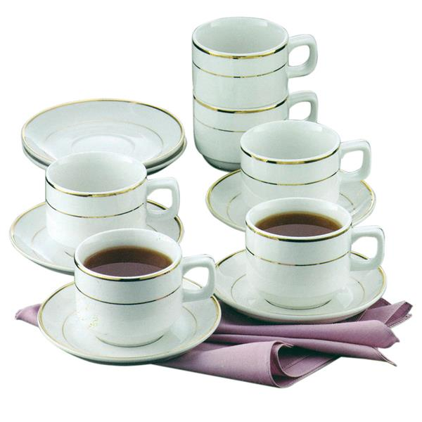 La Piana Gold Line Stackable Cups and Saucers 220cc