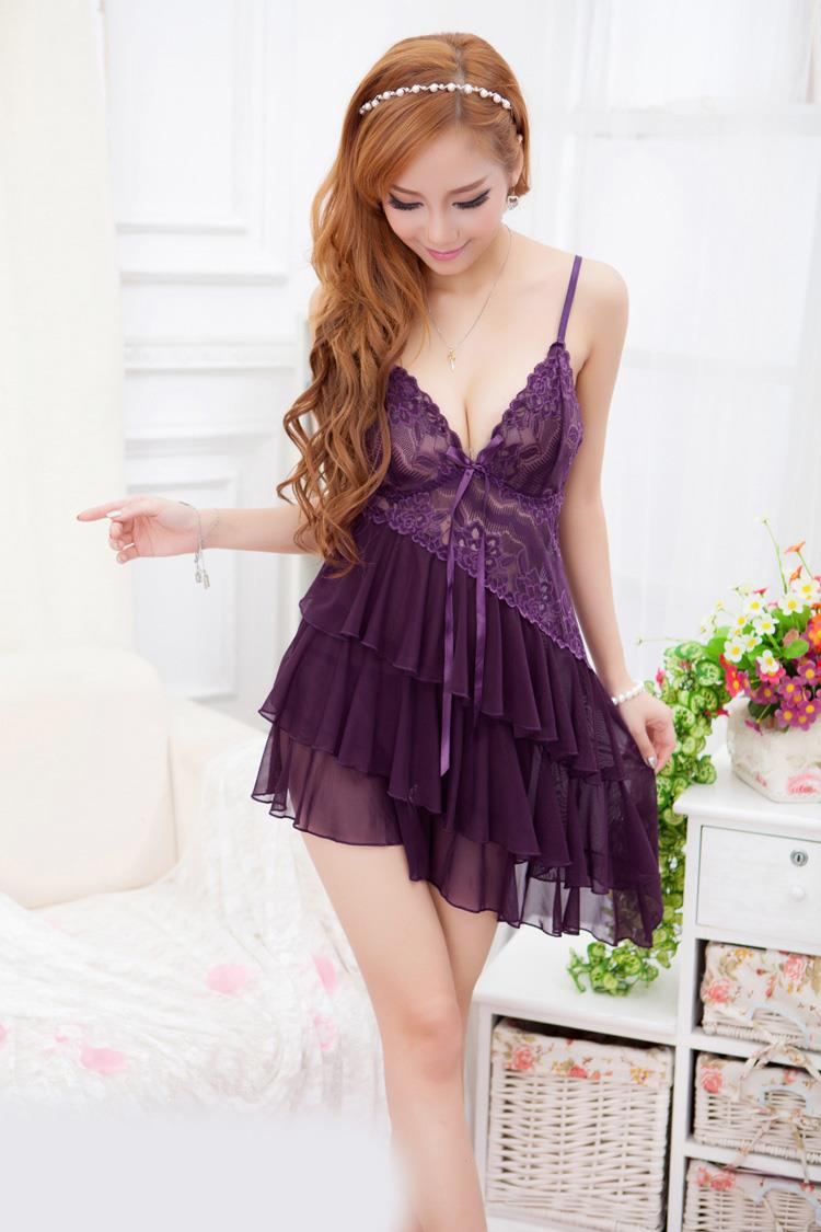 Lace Cake Style Sexy Suit + T-panties (Purple)