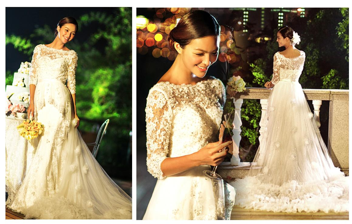 Lace collar wedding dinner gown dress selangor end for Wedding dress malaysia online