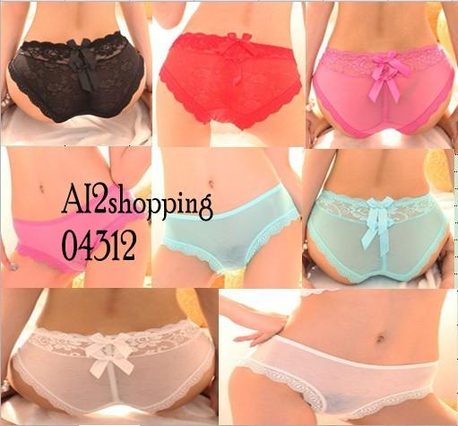 Lace cotton stitching double bow sexy ladies underwear04312