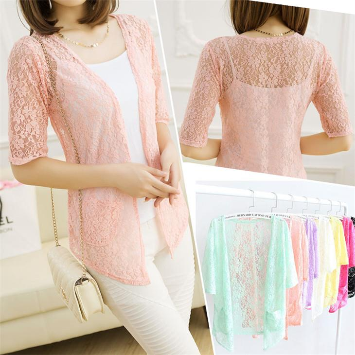 Lace Hollow Thin Knit Jacket (Many Colour Can Choose)